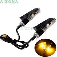 2 pces x 12v motocicleta pisca luzes triângulo led sequencial âmbar indicadores de iluminação universal