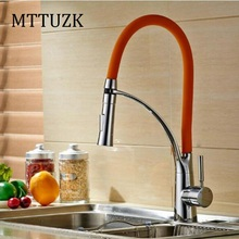 Mttuzk Бесплатная доставка 3 цвета выдвижной кухонный кран коттедж кран телескопическая Весна кран Hot and холодного смешивания смеситель