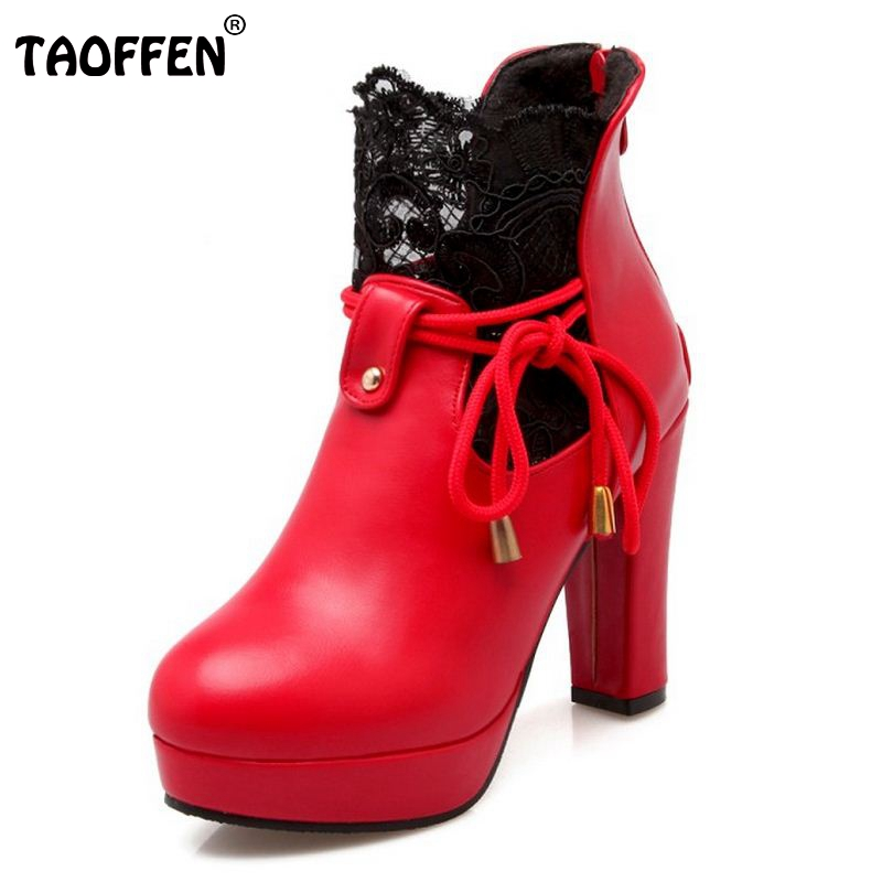TAOFFEN Ladies High Heel Shoes Women Square Heels Boots Lace Platform  Wedding Shoes Winter Warm Boots Footwear Size 34-39 ad1249fef865