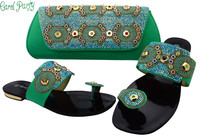 Latest African Women Shoes And Bags Set D Blue Women Shoe And Bag To Match For