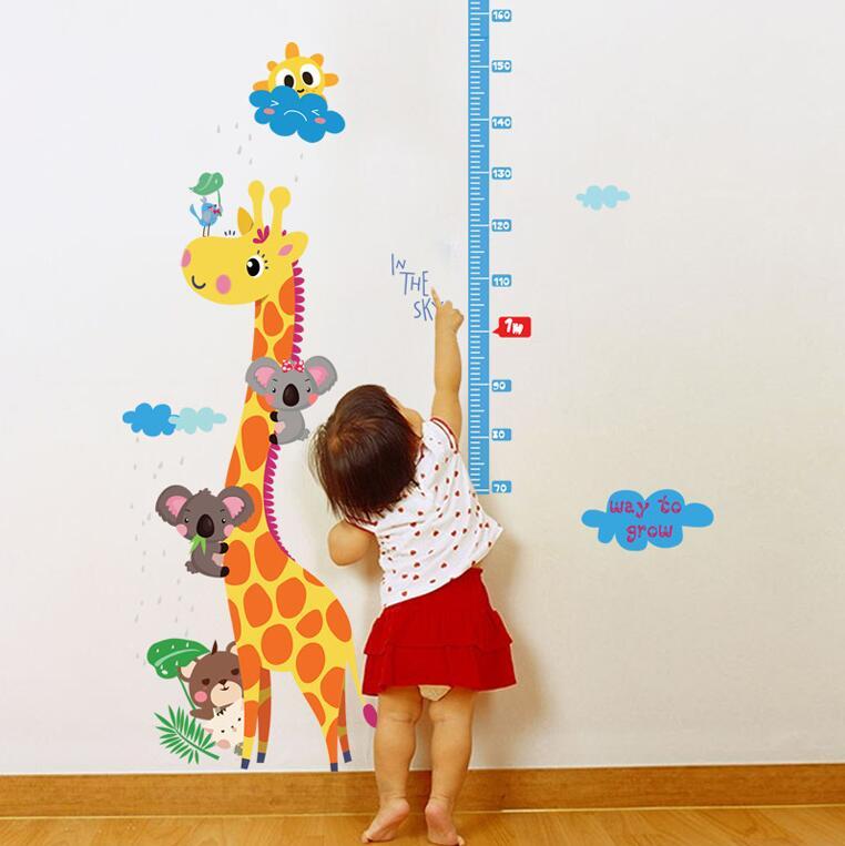 Niños hoogte grafiek muursticker interieur giraf hoogte heerser decoratie kamer calcomanías muur arte etiqueta de papel tapiz HM19002