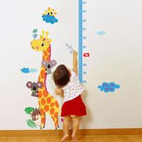 Free shipping Kids hoogte grafiek muursticker interieur giraf hoogte heerser decoratie kamer decals muur art sticker wallpaper