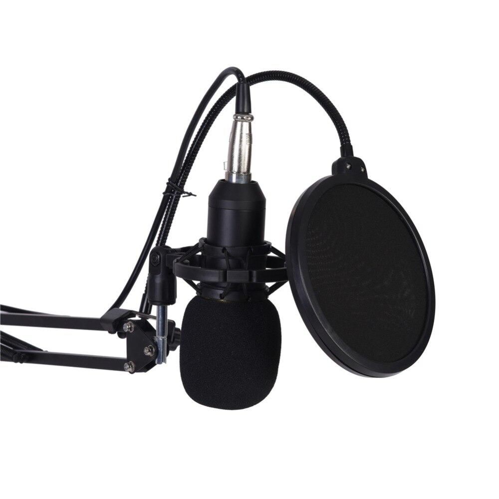 Unidirectionnel Microphone À Condensateur Bras Stand Mic Téléphone Pop Filtre Mousse Cap Holder Mont avec USB Audio Adaptateur Record dans   de