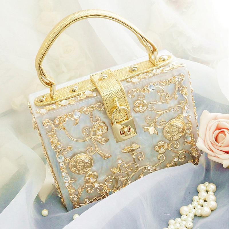Limited high quality diamond flowers hollow relief Acrylic Ballot lock luxury handbag evening bag clutch coin