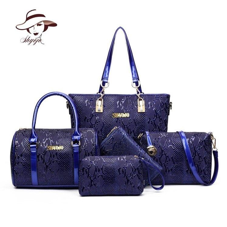 Luxury Famous Brands Designer 5PC/Set Composite Bags Women Messenger Bags Ladies PU Leather Handbag Fashion Female Shoulder Tote