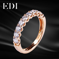 EDI Half Eternal Wedding Band 14K Rose Gold Moissanites Lab Grown Diamond Ring To Women 0.9cttw Brilliant Eternity Band