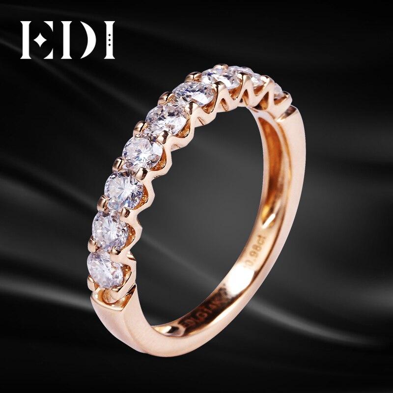 EDI Half Eternal Wedding Band 14K Rose Gold Moissanites Lab Grown Diamond Ring To Women 0.9cttw Brilliant Eternity Band