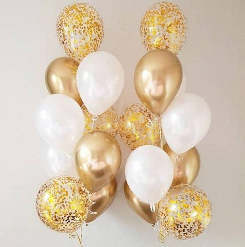 18pcs White And Gold Balloon Confetti Balloons 13pcs Metallic Gold Pink Balloon For Party Decorations Wedding Birthday Decor