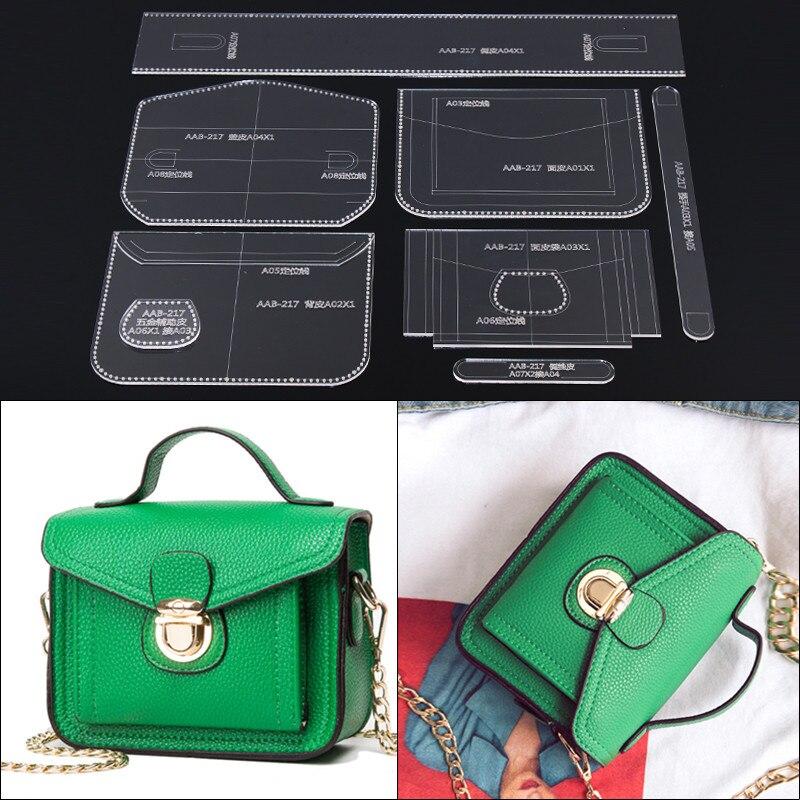 a5376b72 1 Conjunto de plantilla acrílica DIY de cuero artesanal para mujer bolso de  hombro patrón de costura 17*13*7 cm