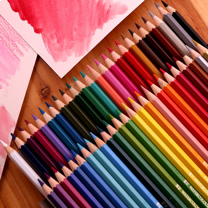 12/48 color watercolor pencil 36/24 color water soluble color pencil painting Drawing Art Supplies school Student Stationery new arrival 24 36 48 water soluble water color pencils standard pencil wooden pencil and brush set artists supply