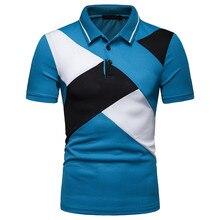 75252eac935 Moda masculina Manga Curta Faixa Patchwork Tamanho Grande Parte Superior  Ocasional Blusa Camisas juventus camisa dos