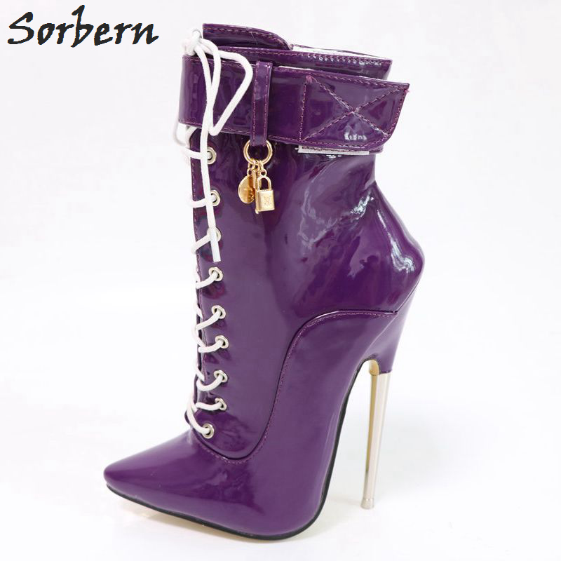 Sorbern Purple Ankle Boots For Women Metal High Heels Lace Up Personalized Stiletto Boots Unisex Shoes Plus Size 46 Fetish Heels цена 2017