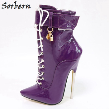 Sorbern Purple Ankle Boots For Women Metal High Heels Lace Up Personalized Stiletto Boots Unisex Shoes Plus Size 46 Fetish Heels