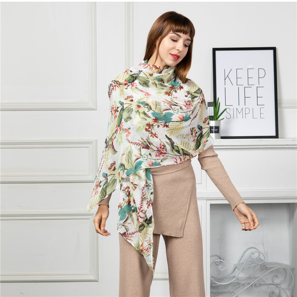 Jinjin QC 2019 new autumn female silk scarf shawls and wraps scarves for women peach blossom printing long soft wrap ladies in Women 39 s Scarves from Apparel Accessories