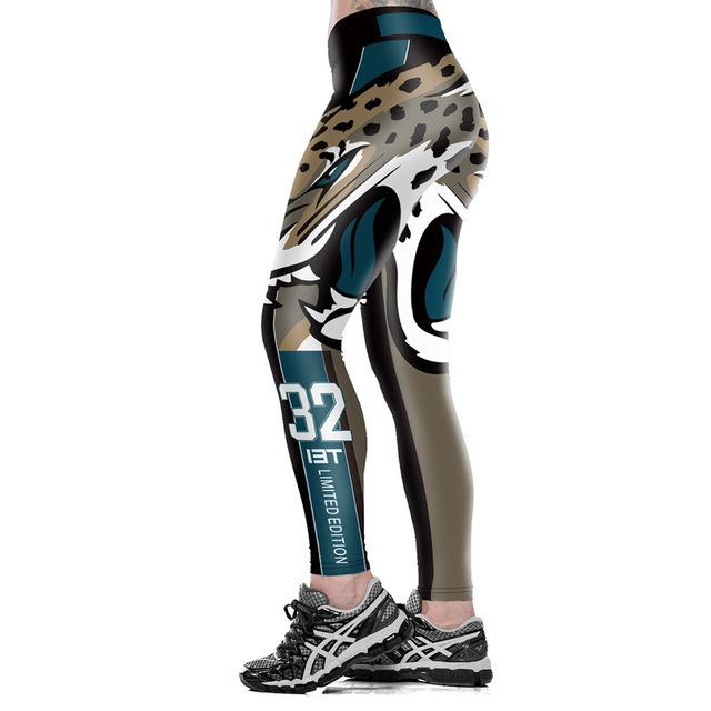 Unisex Jacksonville Jaguars Logo Fitness Leggings Elastic Fiber Hiphop Party Cheerleader Rooter Workout Pants Trousers Dropship