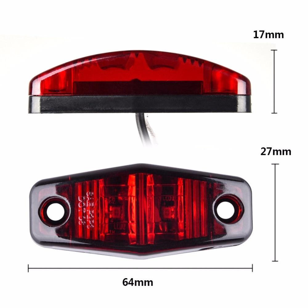 5X Red 10 Led Truck Trailer Light Surface Mount Clearance Side Marker Lamps 12V