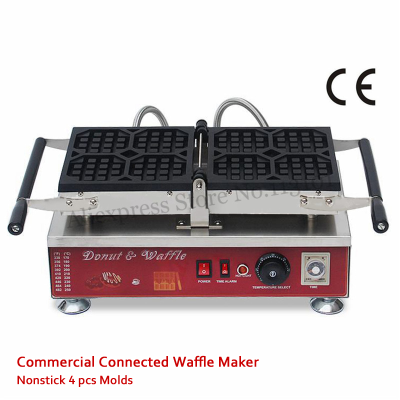 4 Molds Octagon Liege Waffle Maker Machine 110V 220V Nonstick Cake Baker Stainless Steel 1500W Food Street Kitchen Device 110v 220v electric belgian liege waffle baker maker machine iron page 6