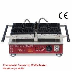 4 Molds Octagon Liege Waffle Maker Machine 110V 220V Nonstick Cake Baker Stainless Steel 1500W Food Street Kitchen Device