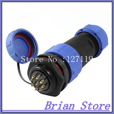 21mm Panel Mount 9-Pin Connecting Aviation Plug Waterproof Cable Gland + Cover 1set wp20 2pin waterproof chassis panel mount aviation plug cable connector 30a 500v