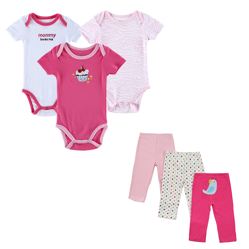 6 Pcs/lot 2017 Toddler Baby Clothing Sets Summer Outfits Baby's Sets Print Baby Romper Pants Lovley Boy Girl Baby Clothes Set
