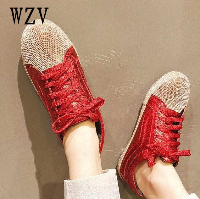 2018 femmes chaussures nouveau mode cher diamant femmes casual chaussures à lacets Plat chaussures Zapatillas Mujer Femmes Appartements B79