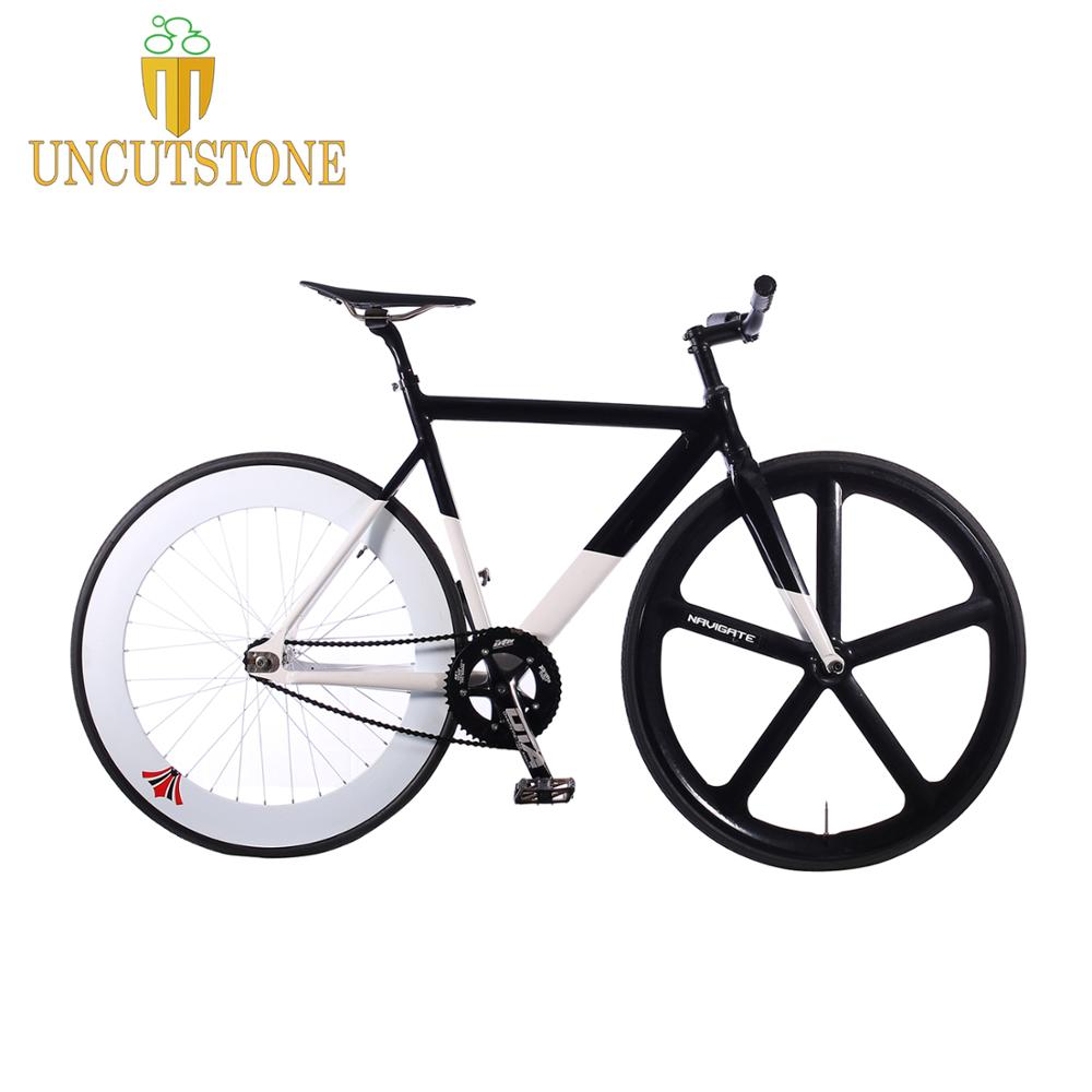 Fixed Gear Bike 54cm 58cm frame single speed bike frame Aluminum alloy Track <font><b>Bicycle</b></font> <font><b>700C</b></font> <font><b>wheel</b></font> DIY color image