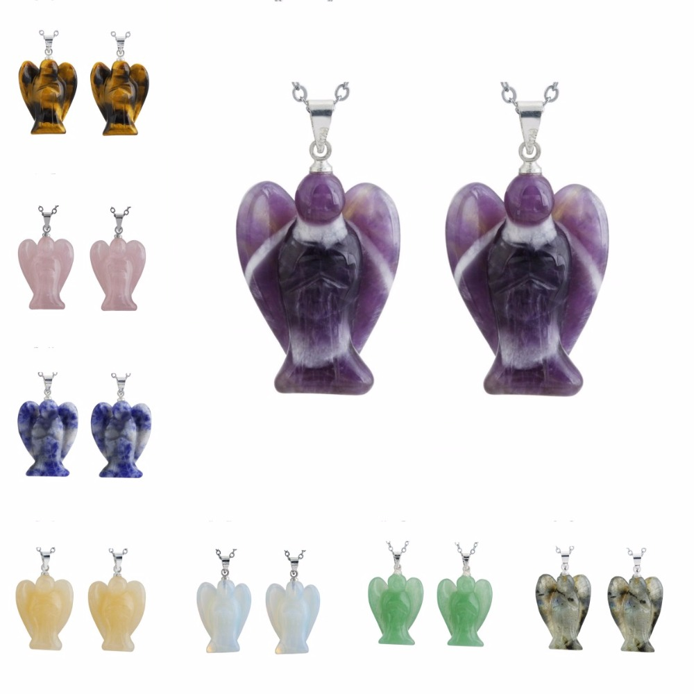 SUNYIK 1Lot (2Pc) Stone Pocket Guardian Angel Pendant Necklace,Crystal Chakra,Valentines Day Gift (Free Chain)
