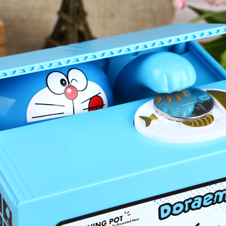 New 2020 Doraemon Brand New Steal Coin Piggy Bank Electronic Plastic Money Safety Box Coin Bank Money Boxes
