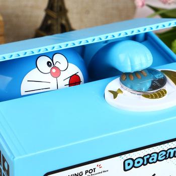 Nowy 2020 Doraemon Brand New ukraść monety skarbonka elektroniczne plastikowe pieniądze sejf skarbonka skarbonki tanie i dobre opinie ELESECUR Piggy Bank Electronic Plastic Money Safety Box Coin Bank Money box