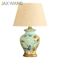 Chinese Style Ceramic Table Lamp Led E27 Fabric Shade Desktop Decorative Light for Bedside Bedroom Living Study Lighting Fixture