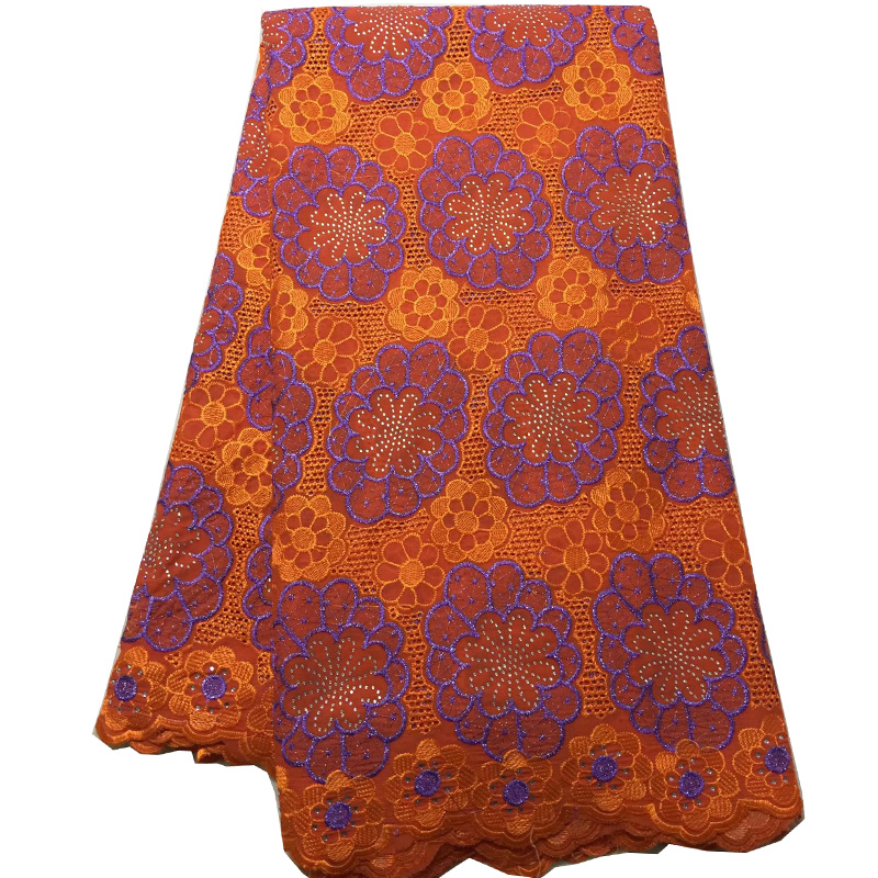 (5yards/pc) beautiful embroidered African voile lace fabric orange color Swiss lace fabric with stones for party dress  CLS218
