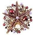 Bella Moda Roxo Estrela Starfish Sea World Charme Broches Mulheres Pinos Broche de Pérolas de Cristal Austríaco Tom de Ouro de Presente de Natal