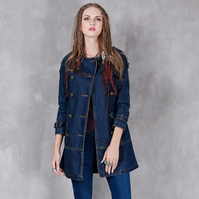 Женщины Плащ 2017 Boho Новый Denim Пальто Сгущает Свободные Поясом отложным Colar Старинные Пальто B9152 Casacos