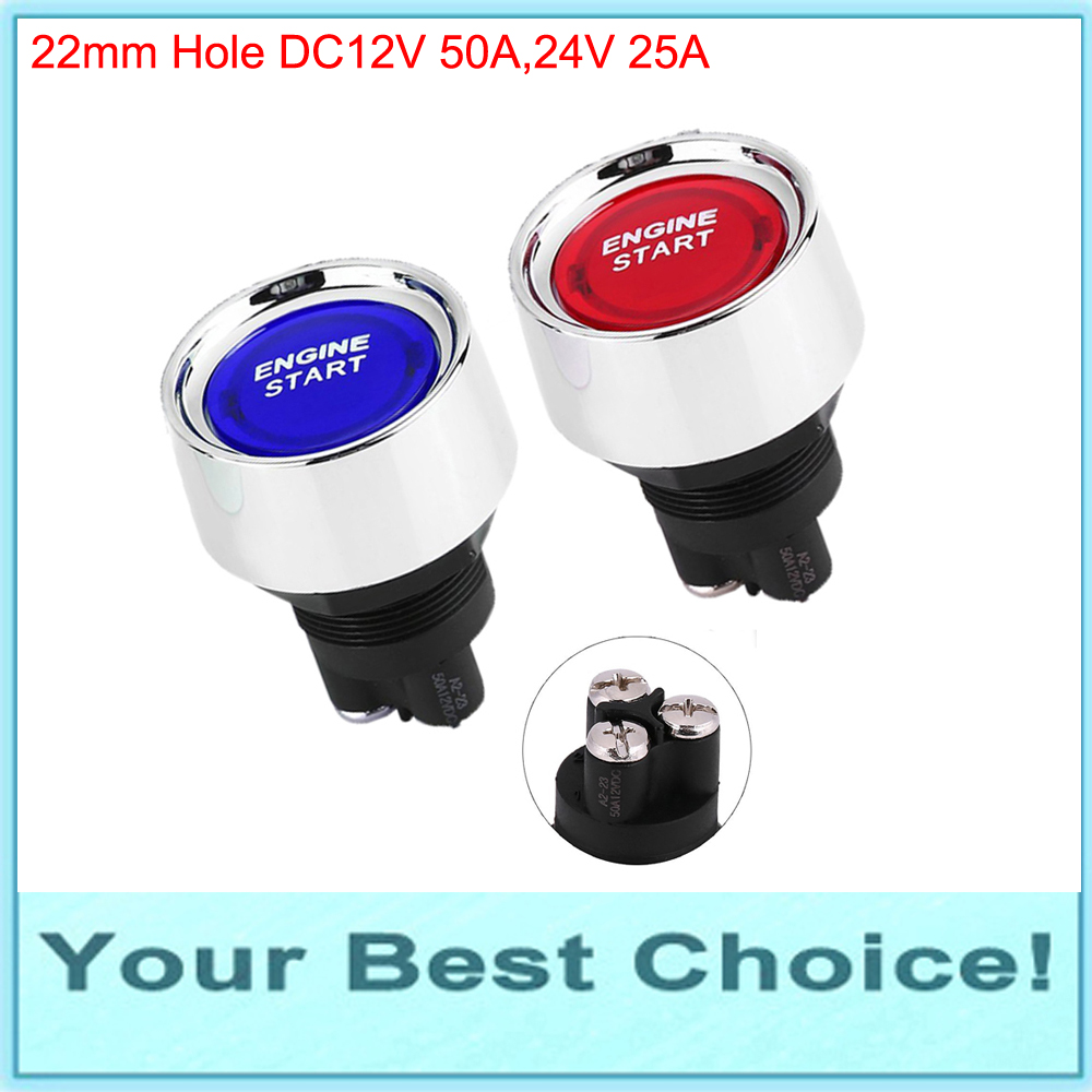 Lighting Accessories Switches Reliable A2-23b-07 22mm 12v/50a,24v/25a Heavy Duty Led Illuminated Engine Start Car Push Button Switch