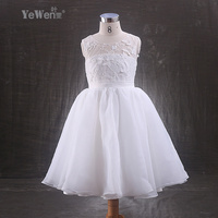 Lace Ankle Length White Ivory Beatiful Bow Child Flower Girl Dresses For Weddings Kids Prom Dresses