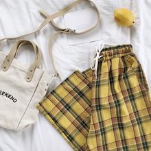 Lato Japoński styl kobiety żółte spodnie Wysoka talia tie Stripe pled bawełniana spodnia tanie tanio Z BONJEAN Poliester Spodnie do kostki Biuro Lady Regularne Tkane Sznurkiem Piór Plaid Wysokiej Płaskie Szerokie spodnie na nogawkach