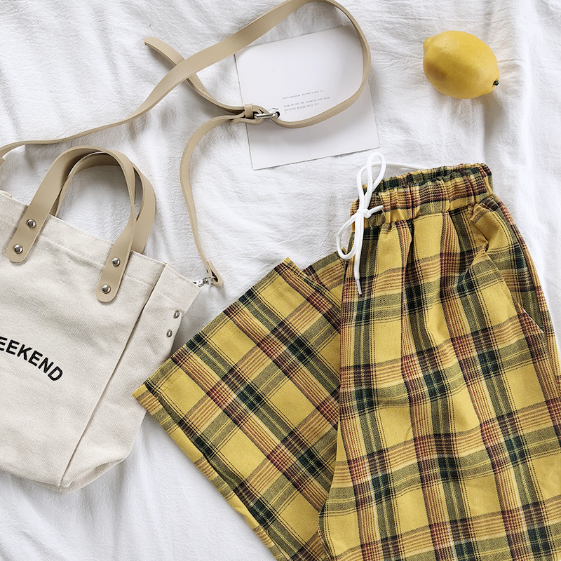 Summer Japanese Style Women Yellow Pants High Waist Tie Stripe Plaid Cotton Pant Bottom