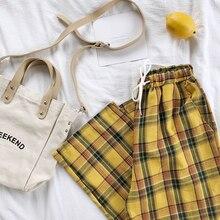 Summer Japanese Style Women Yellow Pants High Waist Tie Stripe Plaid Cotton Pant Bottom