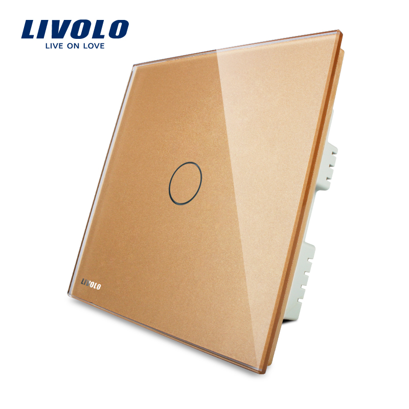 LIVOLO, Touch Switch, Golden Glass Panel,VL-C301-63 ,AC 220~250V 1-gang, UK standard,Wall Switch, with LED indicator minitiger y602a manufacturer touch switch ay y602 with led indicator golden glass panel 2 gang uk eu standard