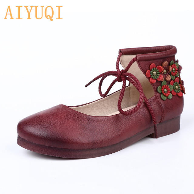 AIYUQI Women shoes flat retro 2019 spring new women shoes genuine leather Flower ethnic style shoes for women Casual loafers