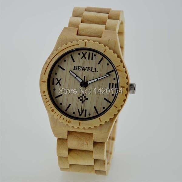 Экологически чистые мужские bewell мапл древесины наручные часы из натурального дерева часы relojes