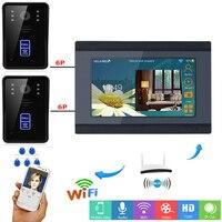 YobangSecurity Video Intercom 7 Inch LCD Wifi Wireless Video Door Phone Doorbell 2 RFID Access Camera 1 Monitor KIT APP Control