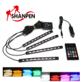 4*9 LED Car Light Interior Atmosphere SUV Floor Strip Lamp Remote Music Control Car Interior Neon Lights