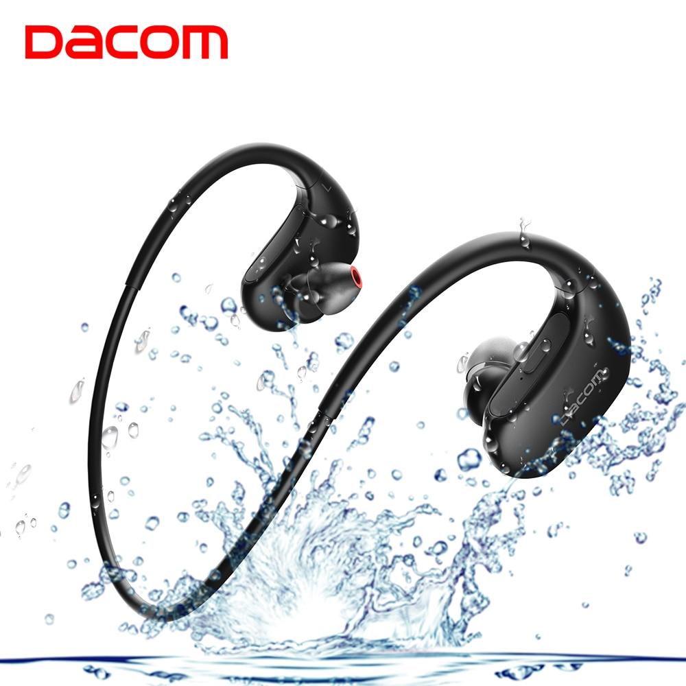 DACOM L05 Wireless Headphones Sports Bluetooth Headset Noise Cancelling Stereo Bass Earphone with Mic IPX7 Headphone for Phone noise cancelling bluetooth 4 2 wireless sports headset with tf slot for phone