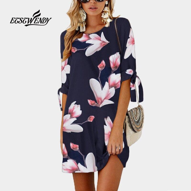 Short Sleeve Women Boho Mini Dress O-Neck Loose Black Beach Dress Plus Size Women Clothes Summer 2018 Vintage Dresses Vestidos