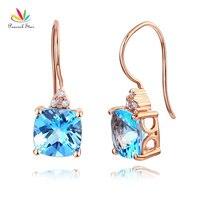c0a67f725c58 Peacock Star Dangle 14K Rose Gold Swiss Blue Topaz Earrings Natural 0 07 Ct  Diamonds