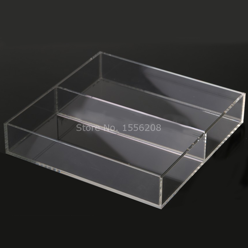 Countertop Acrylic Clear Serving Tray With Two Pockets