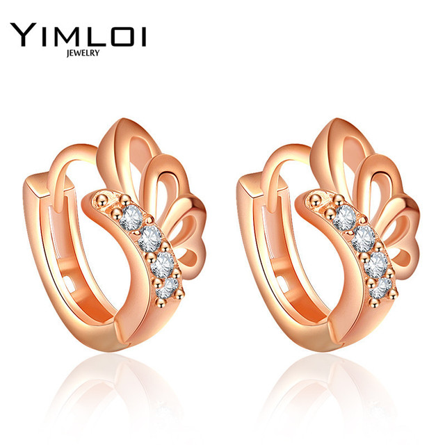 Baby Girls Small Round Circles Huggies Hoop Earrings Gold Color Butterfly  Cubic Zircon Jewellery For Kids 400e8aba9d65