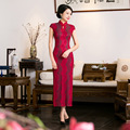 Red Women's party dress lace Cheongsam Qipao Chinese Tradition Evening Dress Top quality Size S M L XL 3XL