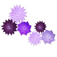 HAOCHU 6pcs Purple Lavender Wheel Paper Flowers Decorative Set Craft For Wedding Party Communion Bachelorette Party
